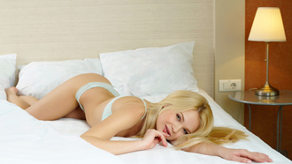 bed, sexy, lying, lingerie, blonde