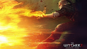геральт, the witcher 2 assassins of the kings, игры, огонь