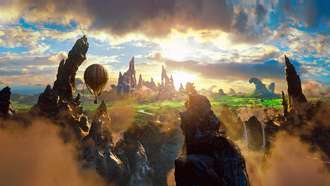 story, oz the great and powerful, rock, air baloon, beauty, magic, clouds, 2013 movie, fantasy