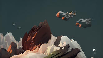 c4d, landskape, 2013, cinema4d, art, 3d, sky, birds, lowpoly, model