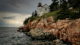 bass harbor lighthouse, ���, maine, ����, united states, ����, bernard, ���