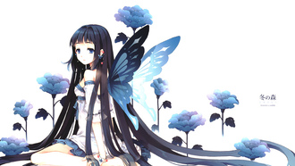 long hair, �������, butterfly, �����, �������, flower, brunette, girl, blue