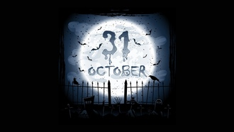 scary, october, creepy, full moon, holiday halloween , horror, graveyard, crows
