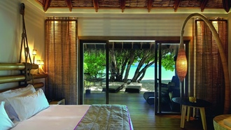 maldives, view, moofushi, beautiful, constance, room, tree, bed, interior, resort, beach