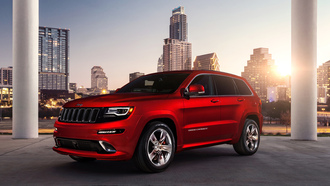�������, city, �����, jeep, ������, building, grand cherokee, ����, srt, red