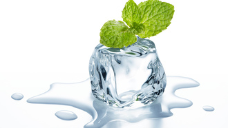 mint., ��������, ice, cube, leaflets, �����, ����, ����