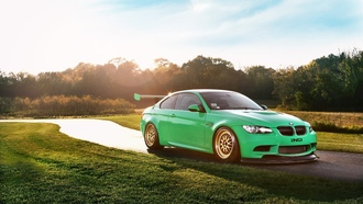 e92, m3, race car, s65, небо, блик, бмв, coupe, ind, солнце, front, bmw, green hell