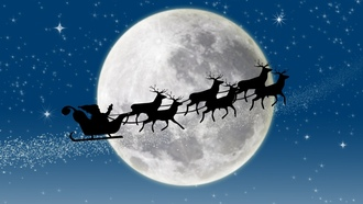 new year, full moon, merry christmas, santa claus coming, reindeer, stars, snow, новый год