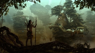hunter, forest, evening, лес, girl, девушка, rendering, охотница, fantasy, city