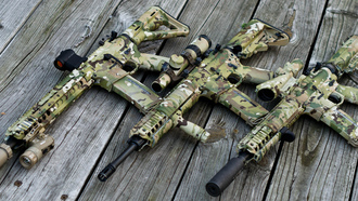 scope, ar 15, assault rifle, wood, multicam