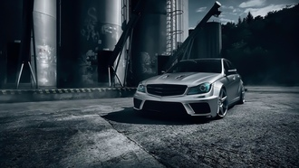 mercedes-benz, c63, amg, black, series, t-modell, silver, color, front