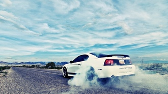 ford mustang, burnout, ��������, ����, road, �������