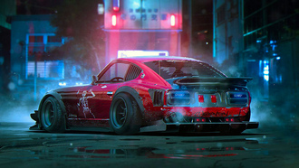 dutsun, 280z, skilenton, red, future, tuning, by-khyzyl-saleem