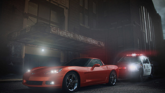 chevrolet, corvette, muscle, car, orange, ligth, police