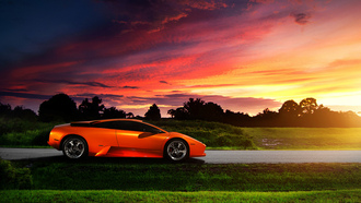 profile, orange, закат, блик, lamborghini, небо, murcielago