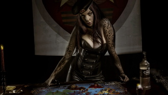 woman, table, tattoo, parody, risk, original game of thrones, board