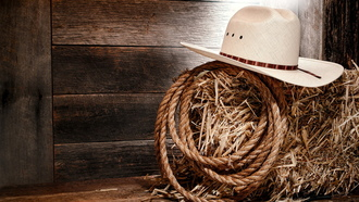 straw, wood, rope, white hat, wall, cowboy
