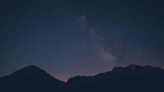 lights, stars, mountain