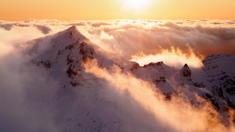 clouds, sky, fog, sun, snow, mountains