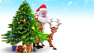 santa claus, christmas tree, christmas, 3d, reindeer, new year, snow, рождество, gifts