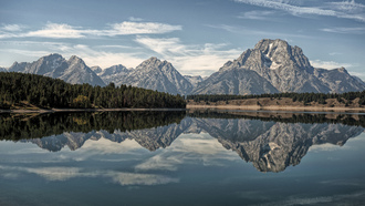 oxbow bend lake, озеро, горы, wyoming, гранд-титон, grand teton national park