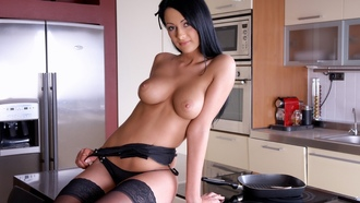 dana wegron, brunette, tits, lingerie, kitchen, stockings, boobs, big tits, natural beauty, kitchen, love this girl, great body, drop dead gorgeous