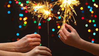 bokeh, merry christmas, celebrate, lights, hands , new year, little girls , kids, sparklers