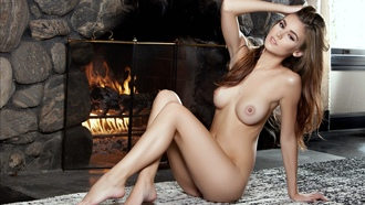 amberleigh west, brunette, brown eyes, playboy model, naked, big tits, hard nipples, shaved pussy, ass, fireplace, dark nipples