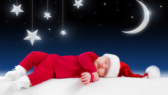 funny sleeping baby , little santa claus , children , kid, merry christmas , new year, clothes