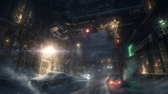 снег, город, машины, batman arkham origins, игра, game wallpapers, бэтмен