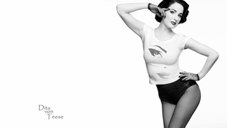 dita von teese, model, sexy babe, actress, glamour, international burlesque star, dita, playmate, dancer, black and white, black hair, top, panty, fishnet, pantyhose