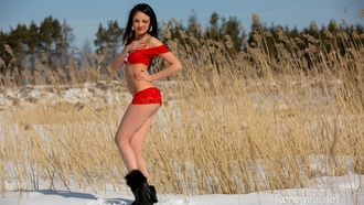 katie, brunette, sexy girl, adult model, lingerie, red underwear, sexy legs, snow, winter, reeds, cane, earrings, outdoors, long hair, view