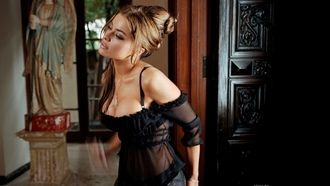 erotic, sexy, nude, classy, carmen electra, sexy babe, brunette, black, lingerie, celebrity, personality, actress, hollywood, starlet, updo hairstyle