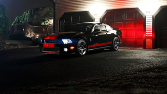 ford mustang gt500, мустанг, muscle car, ночь, форд