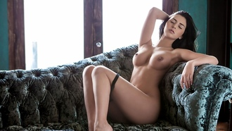hot, sexy, boobs, shaved pussy, courtney nikole, sofa, legs, brunette