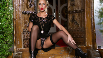 nicole aniston, penthouse, stockings, blonde