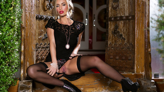 nicole aniston, penthouse, stockings, blonde, girl