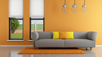interior, couch, pillows, stylish design, minimalist , window, living room , orange