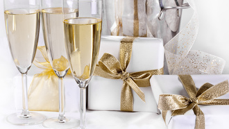 merry christmas, champagne, holiday, happy new year, ribbon, gifts, boxes, christmas