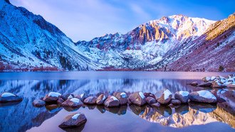 lake, reflection, mountain