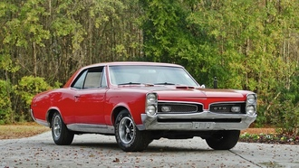 muscle car, coupe, �������, gto, hardtop, retro, red, ���, 1967, classic, pontiac