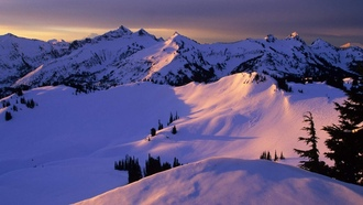 sunset, �������, mountain, winter, snow, ����, ����, �������