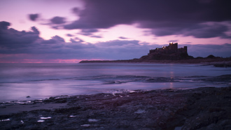 england, clouds, sea, bamburgh castle, coast, great britain, sky, evening, purple