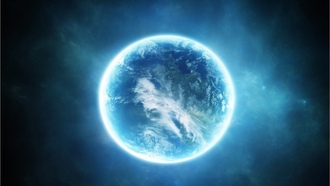 science fiction, blue, light, planet