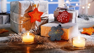 snowflake, ribbon, winter, heart, snow, gifts, ���������, ����� ���, candles