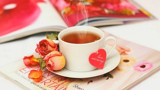 love, flowers, rose, table, petals, чашка, journal, drink, tea, чай, roses, cup, heart
