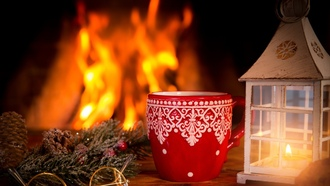 Christmas, Xmas, fire, cup, decoration, ���������, ����� ���, �����, ������, �����, ����, ���������