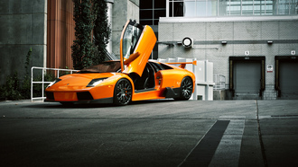 front, ламборгини, ламборджини, murcielago, orange, lamborghini