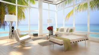 modern , interior, sea view, beach loft, bed, luxury , chairs, stylish , design , apartment