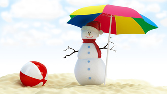merry christmas , umbrella, snowman, ������� ���������, beach ball, new year